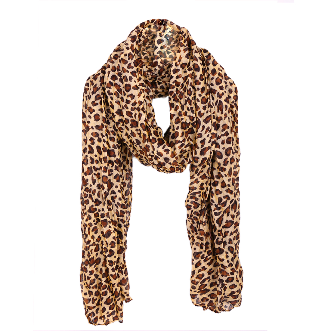 Women Ruched Warm Leisure Scarf Light Yellow Coffee