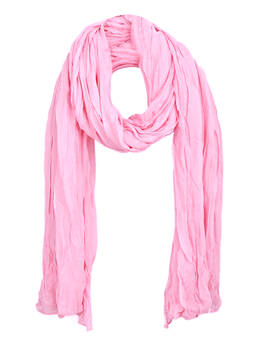 Women Pleated Winter Wearing Casual Scarf Pink