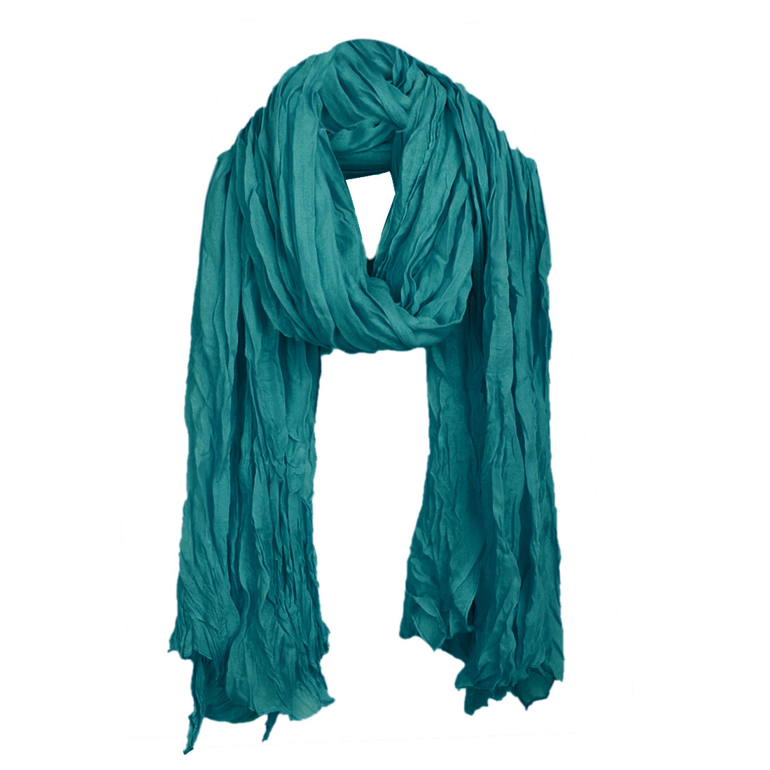 Women Pleated Winter Wearing Simple Scarf Teal