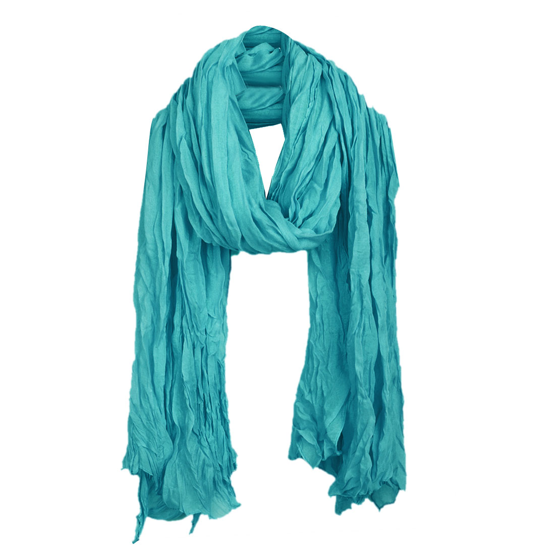 Women Pleated Fashionable Stylish Scarf Turquoise