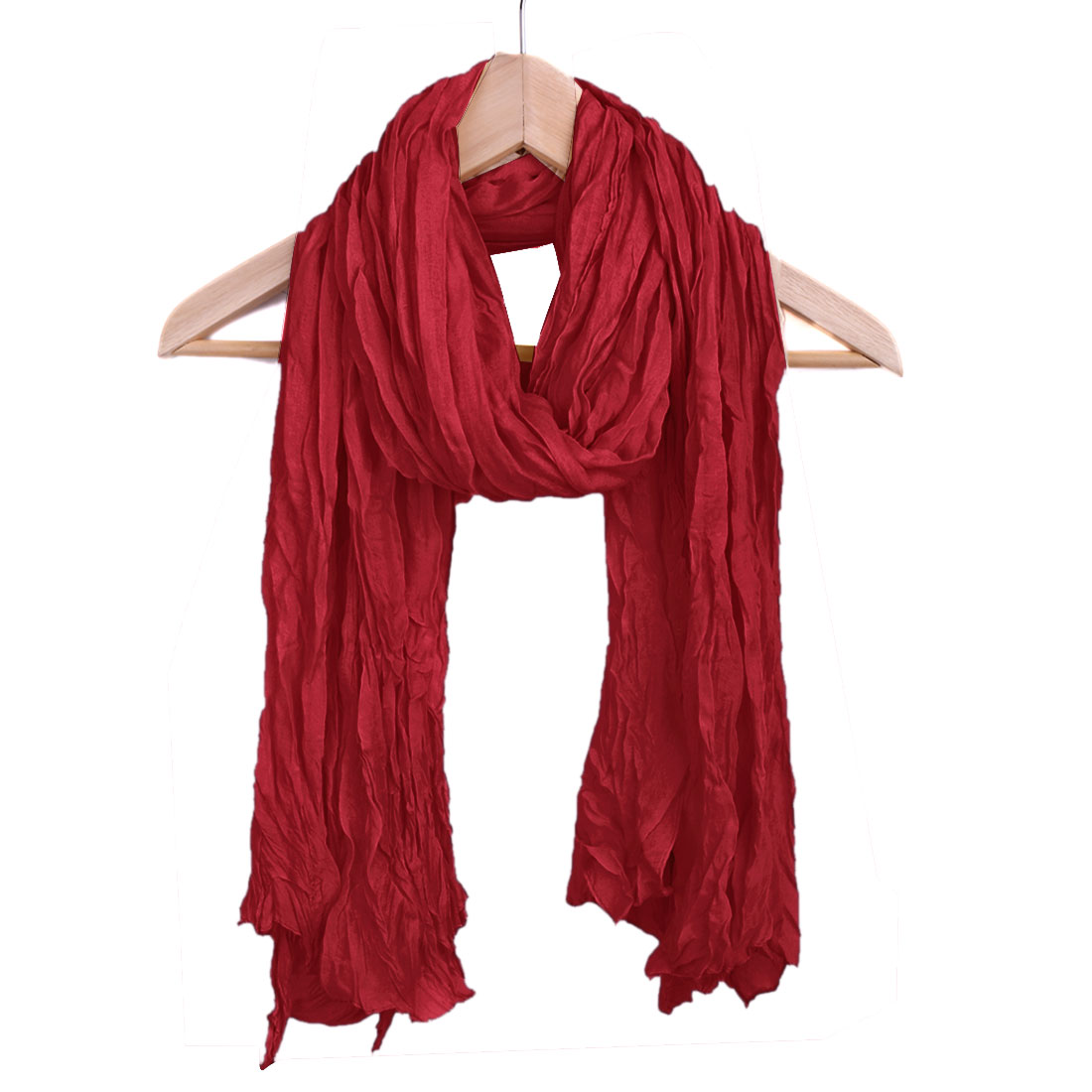 Women Semi Sheer Warm Winter Scarf Burgundy
