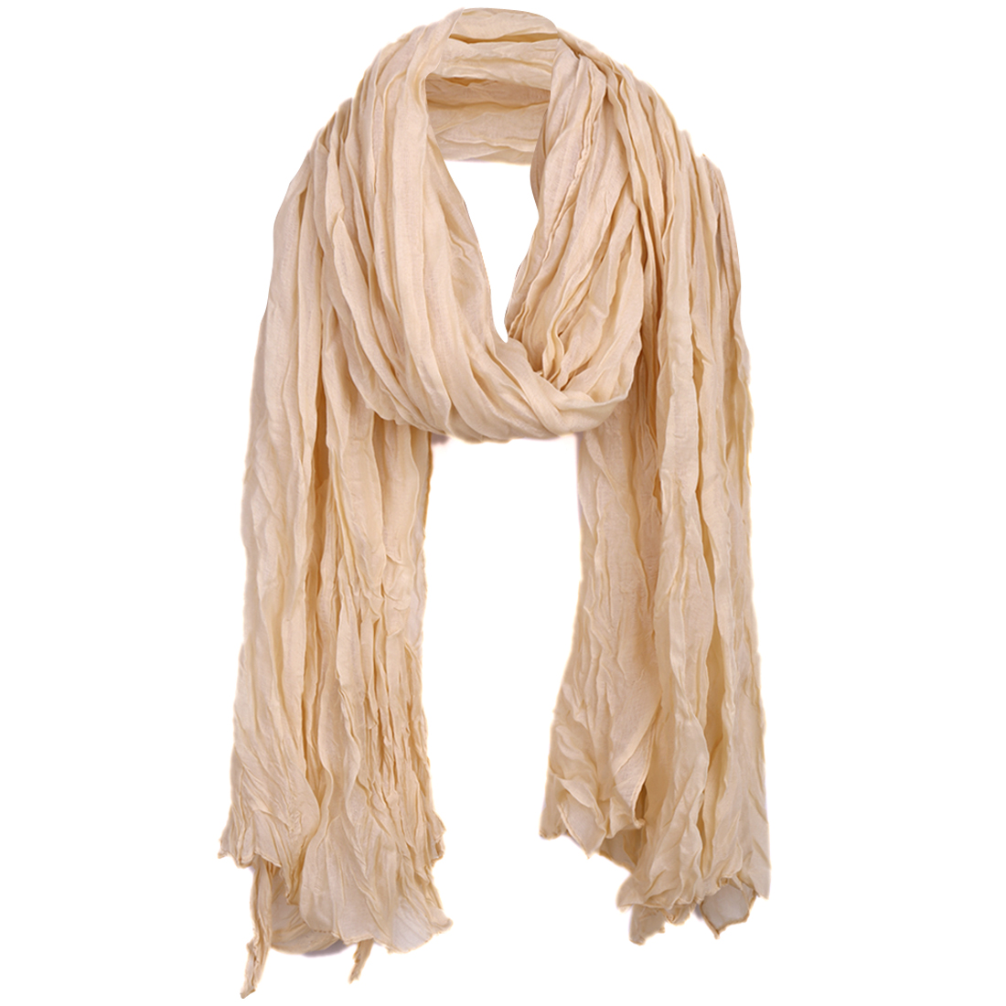 Women Ruched Warm Leisure Spring Scarf Apricot