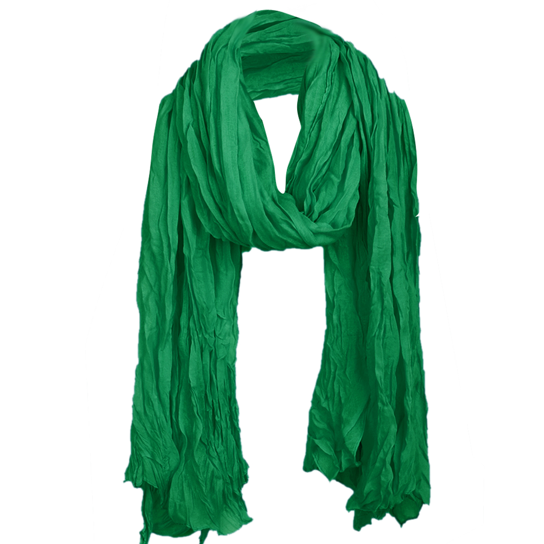 Women Pleated Semi Sheer Autumn Scarf Dark Green