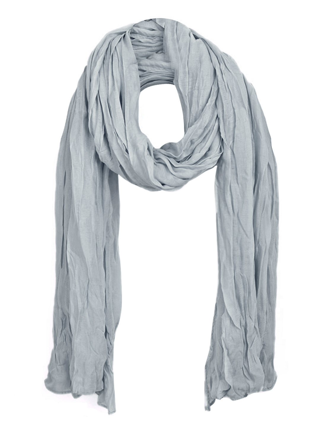 Women Simple Pleated Spring Wearing Scarf Gray