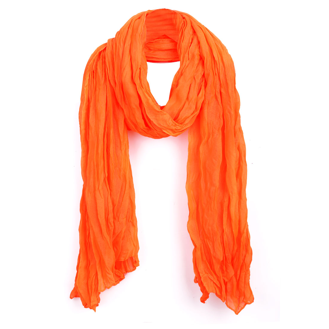 Women Ruched Detail Fall Wearing Scarf Orange