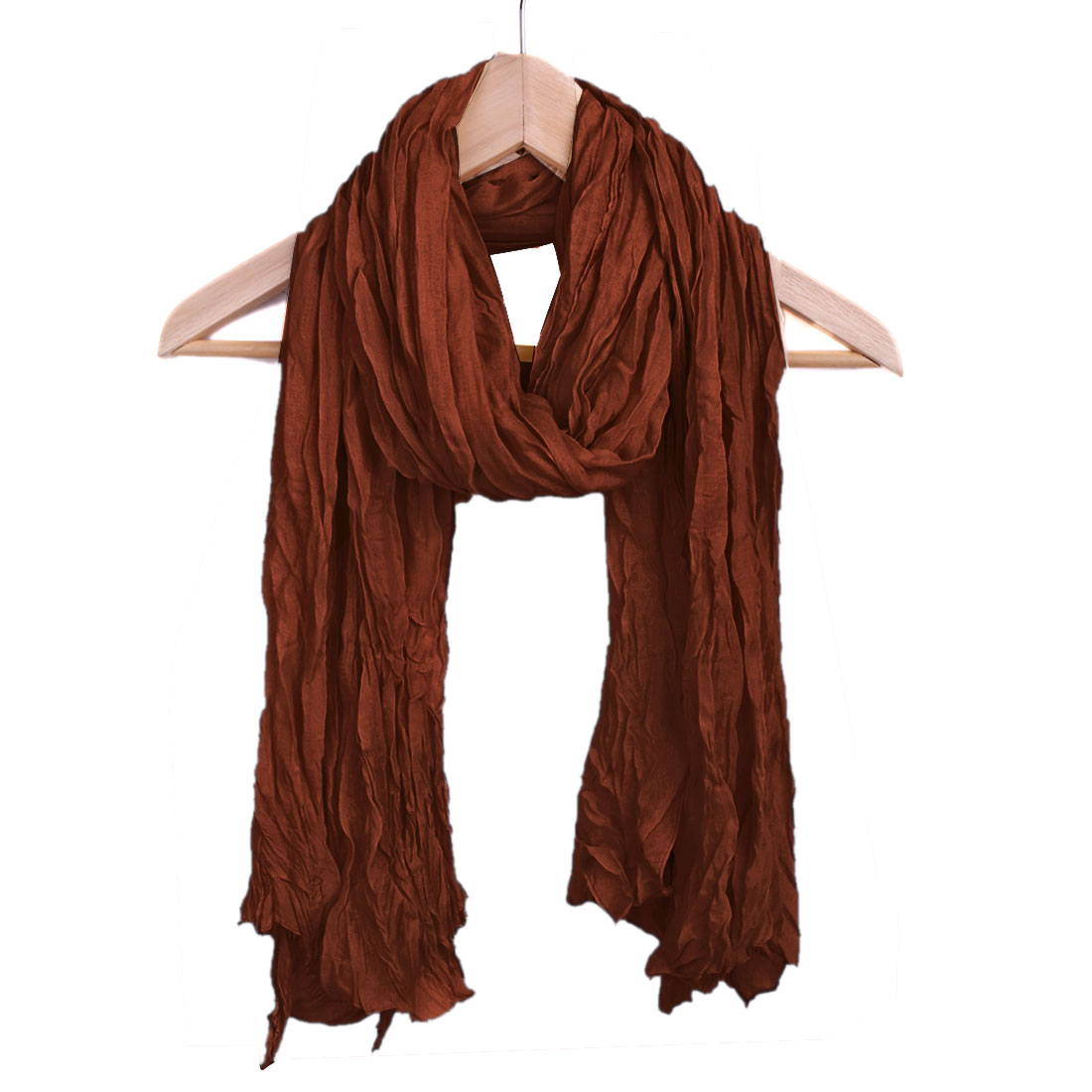 Women Pleated Pefect Accessory Leisure Scarf Brown