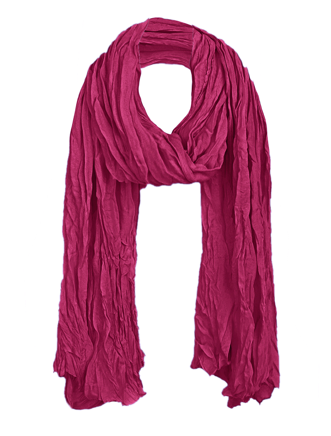Women Ruched Detail Neck Ornament Scarf Fuchsia