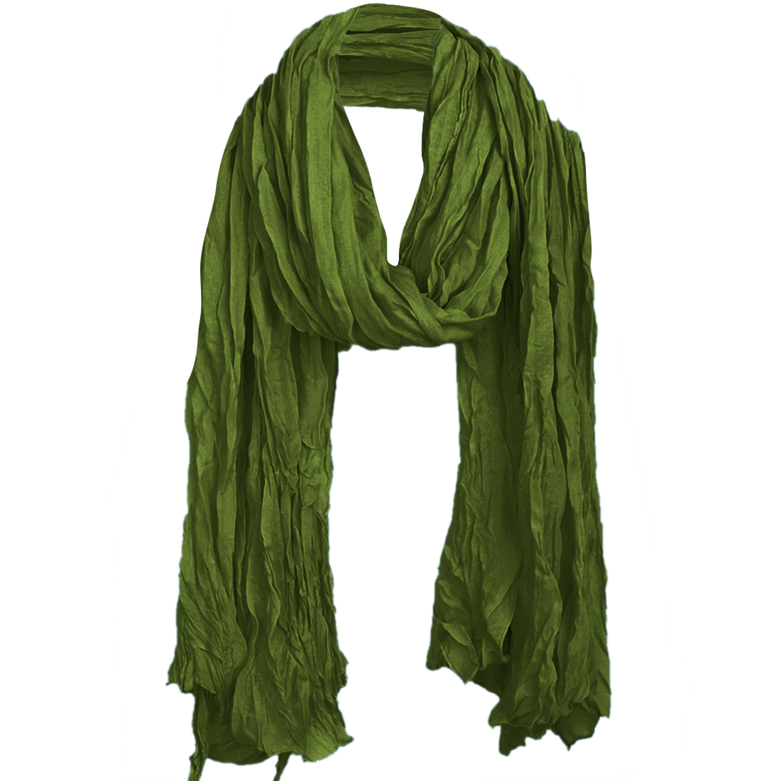 Women Semi Sheer Simple Ruched Scarf Army Green