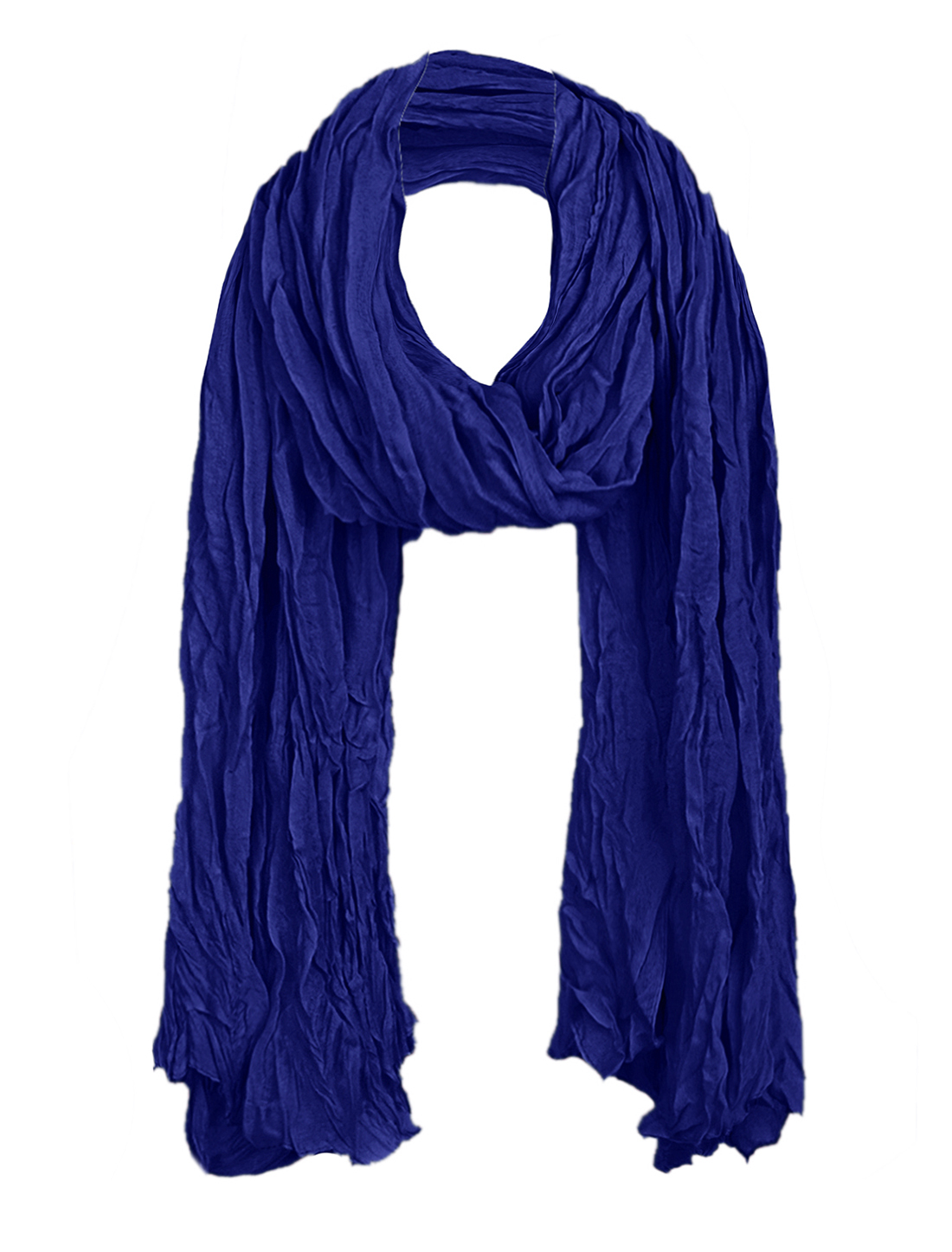 Women Pleated Neck Ornament Simple Scarf Royal Blue
