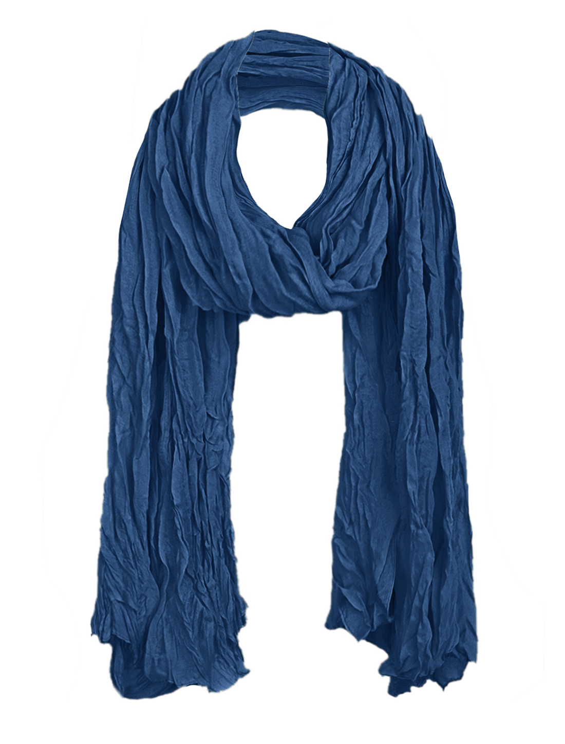 Women Ruched Detail Pefect Accessory Scarf Navy Blue