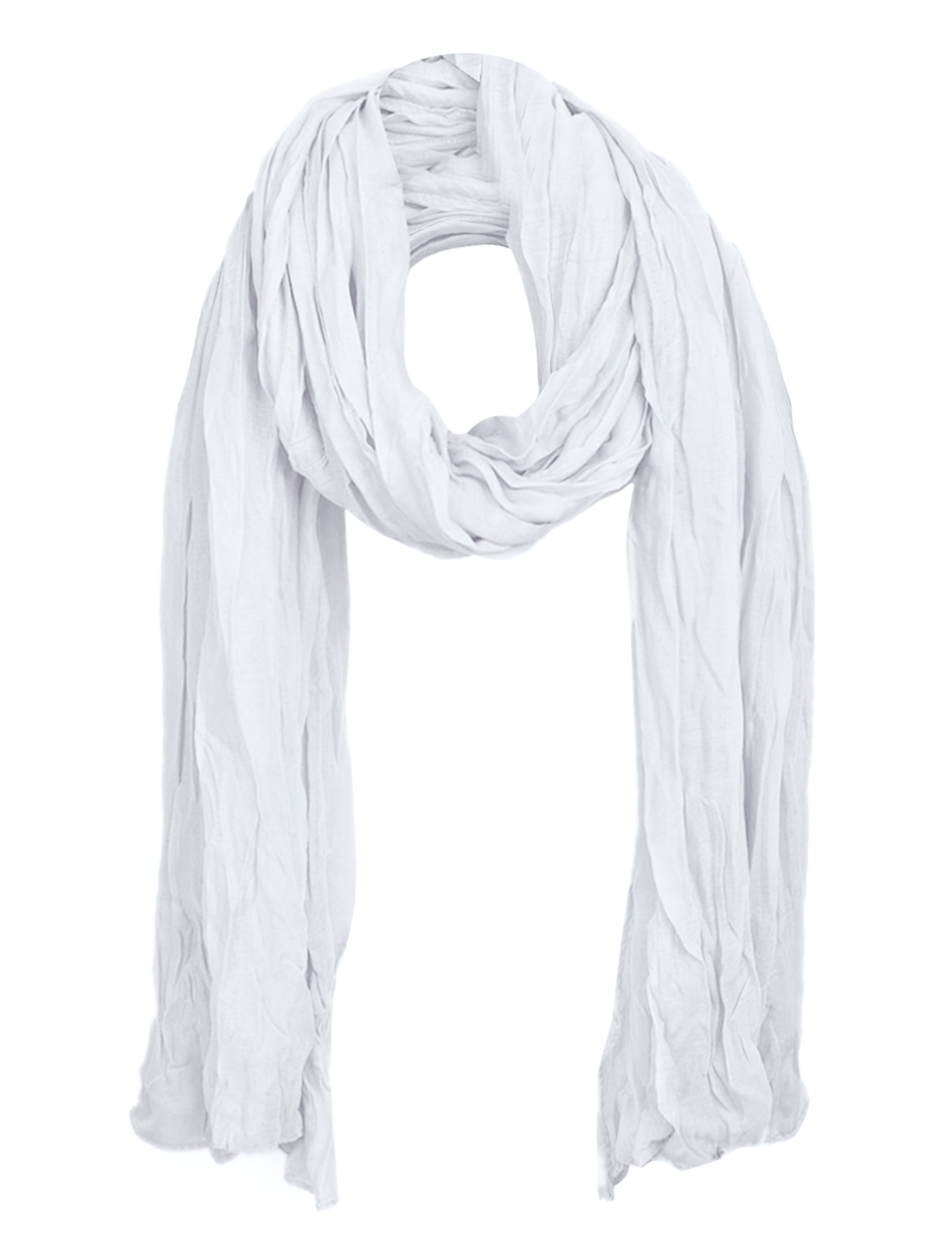Women Semi Sheer Spring Autumn Wearing Scarf White