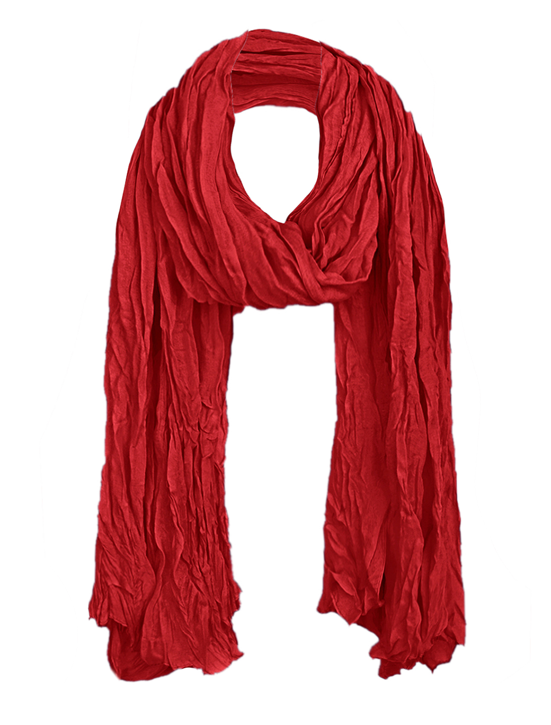 Women Pleated Spring Autumn Leisure Scarf Dark Red