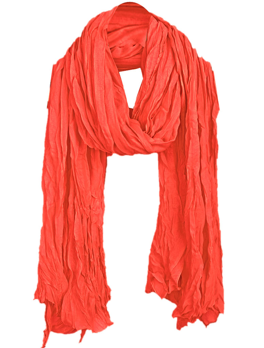 Women Ruched Detail Winter Wearing Scarf Watermelon Red