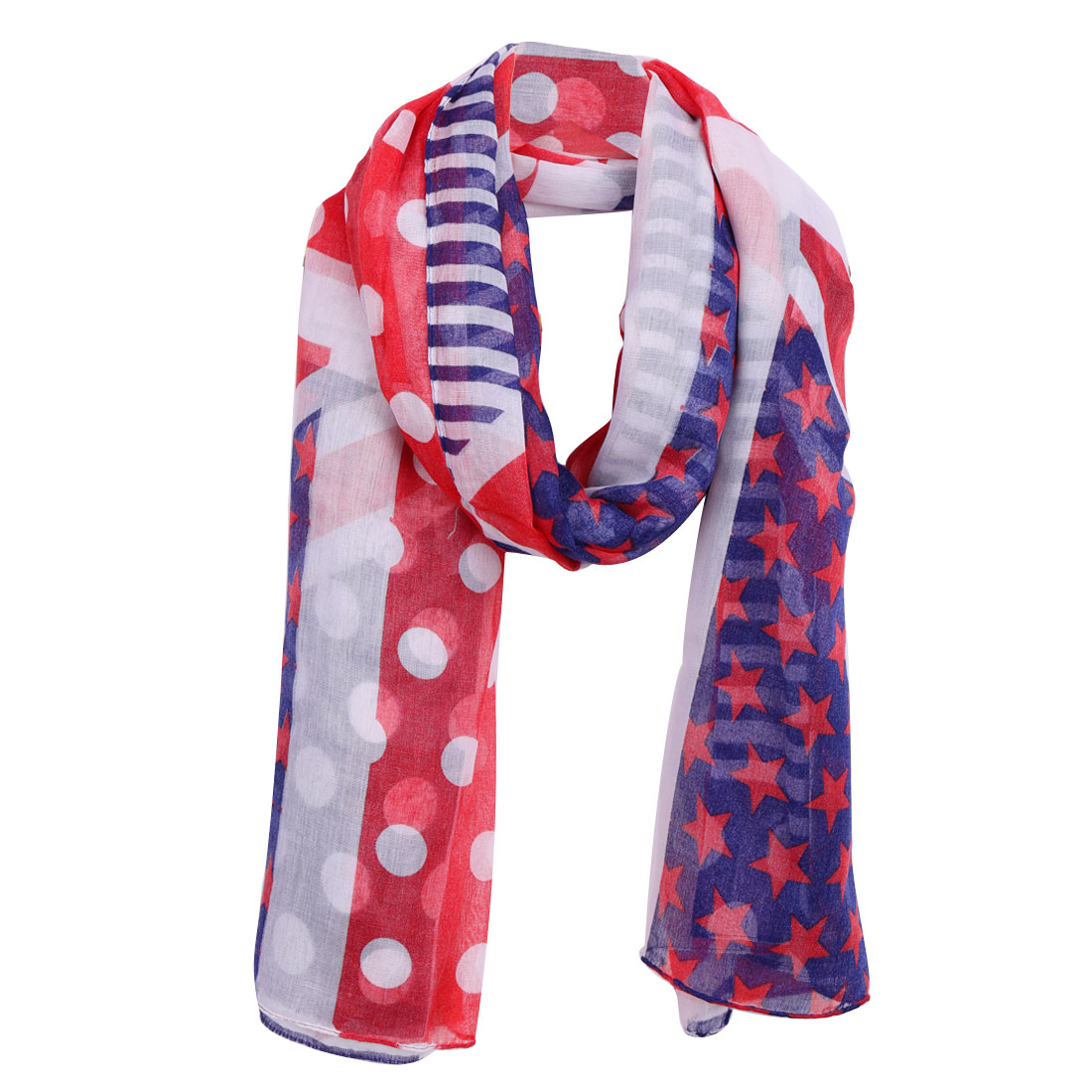 Women Dots Stars Stripes Prints Soft Casual Scarf Multicolor