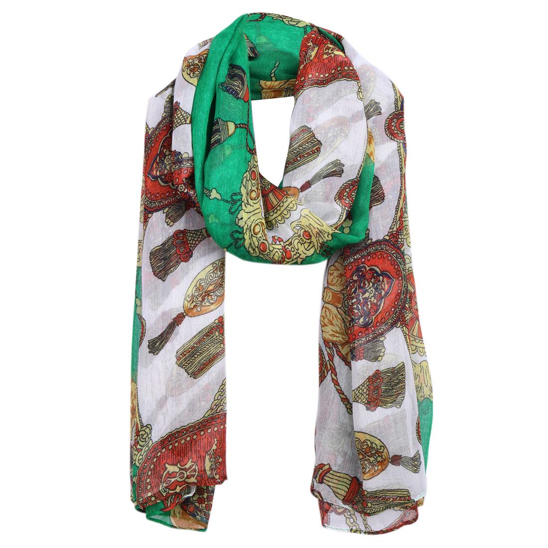 Women Green Ethnic Pattern Color Block Multicolor Casual Elegant Scarf
