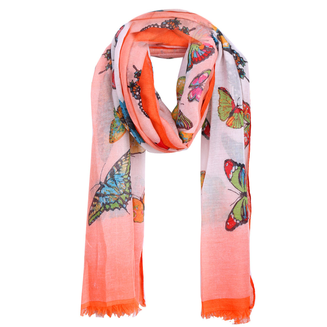 Women Butterfly Prints Semi Sheer Tassels Hem Scarf Multicolor