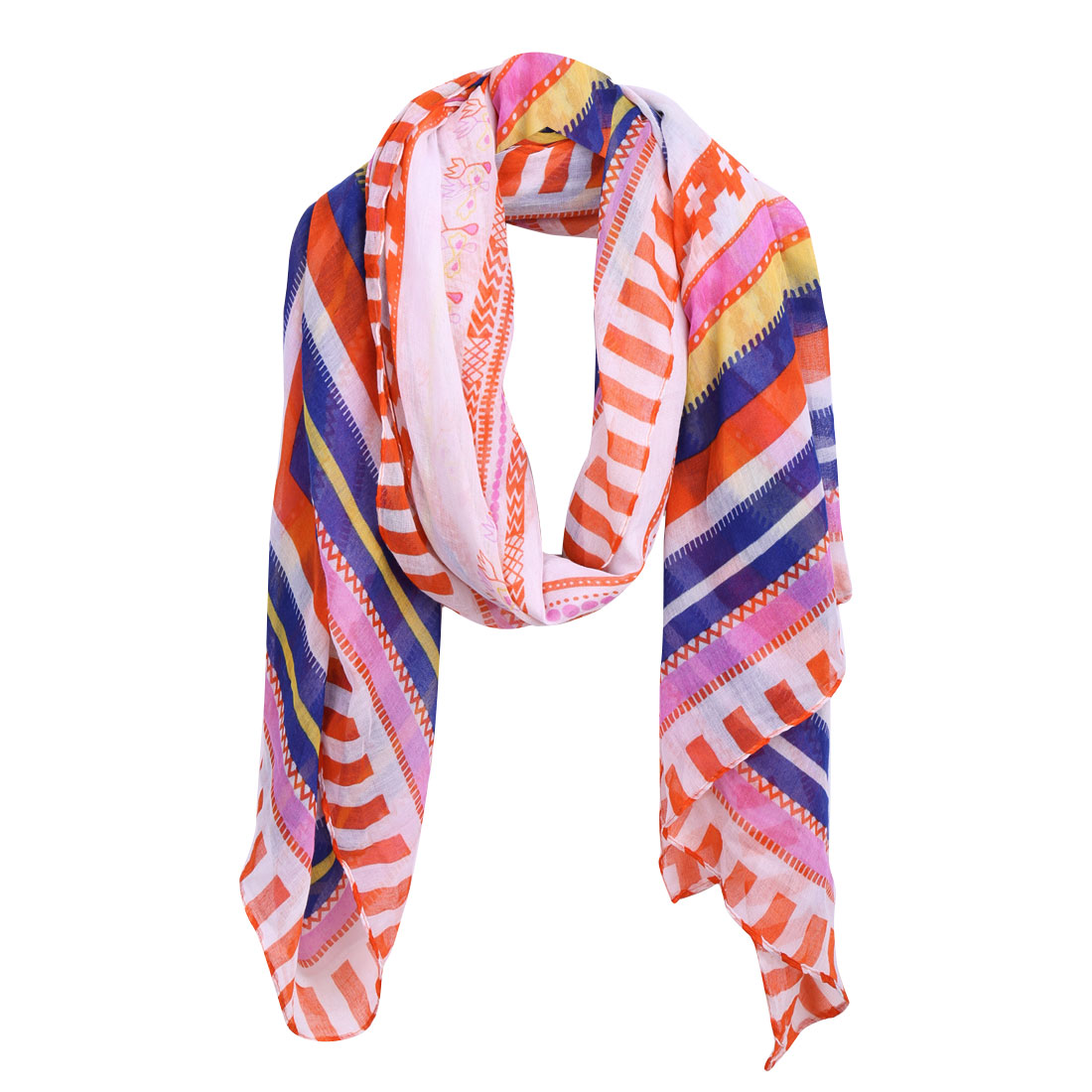 Women Color Block Stripes Pattern Multicolor Scarf