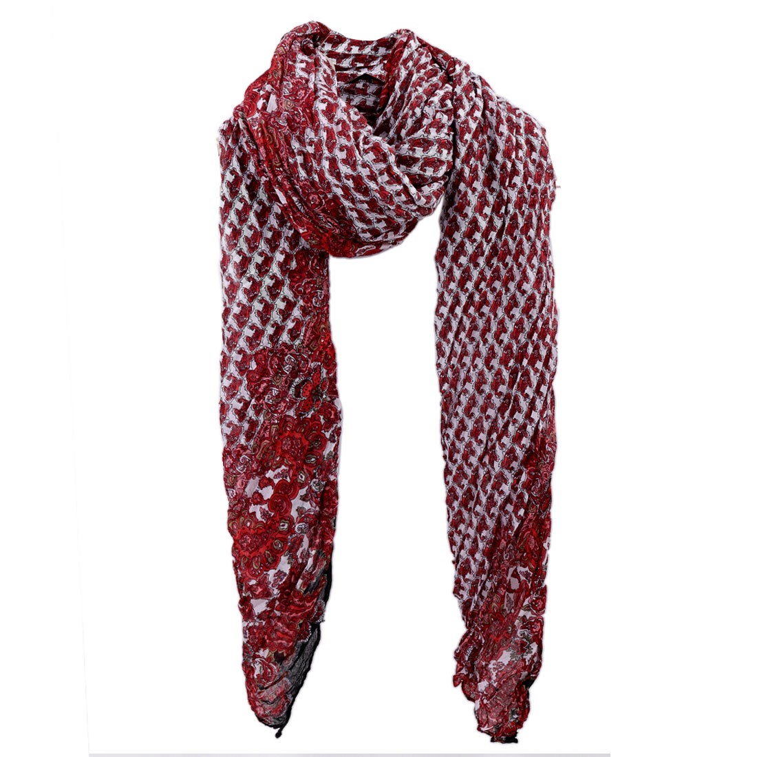 Women Fish Pattern Pleated Soft Scarf Red White