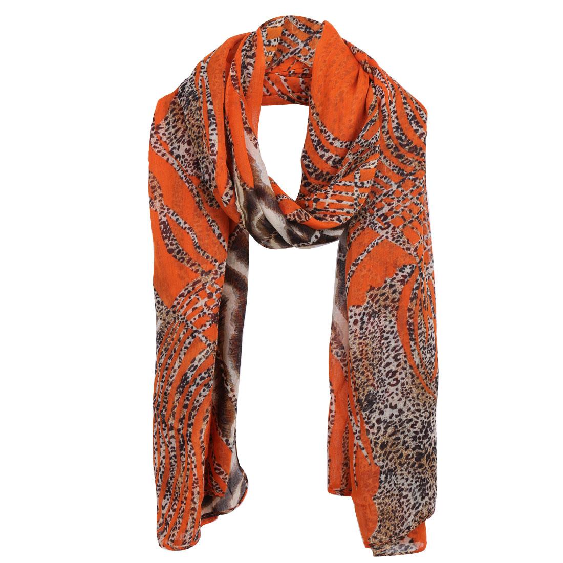 Women Leopard Pattern Soft Winter Wearing Scarf Orange Coffee