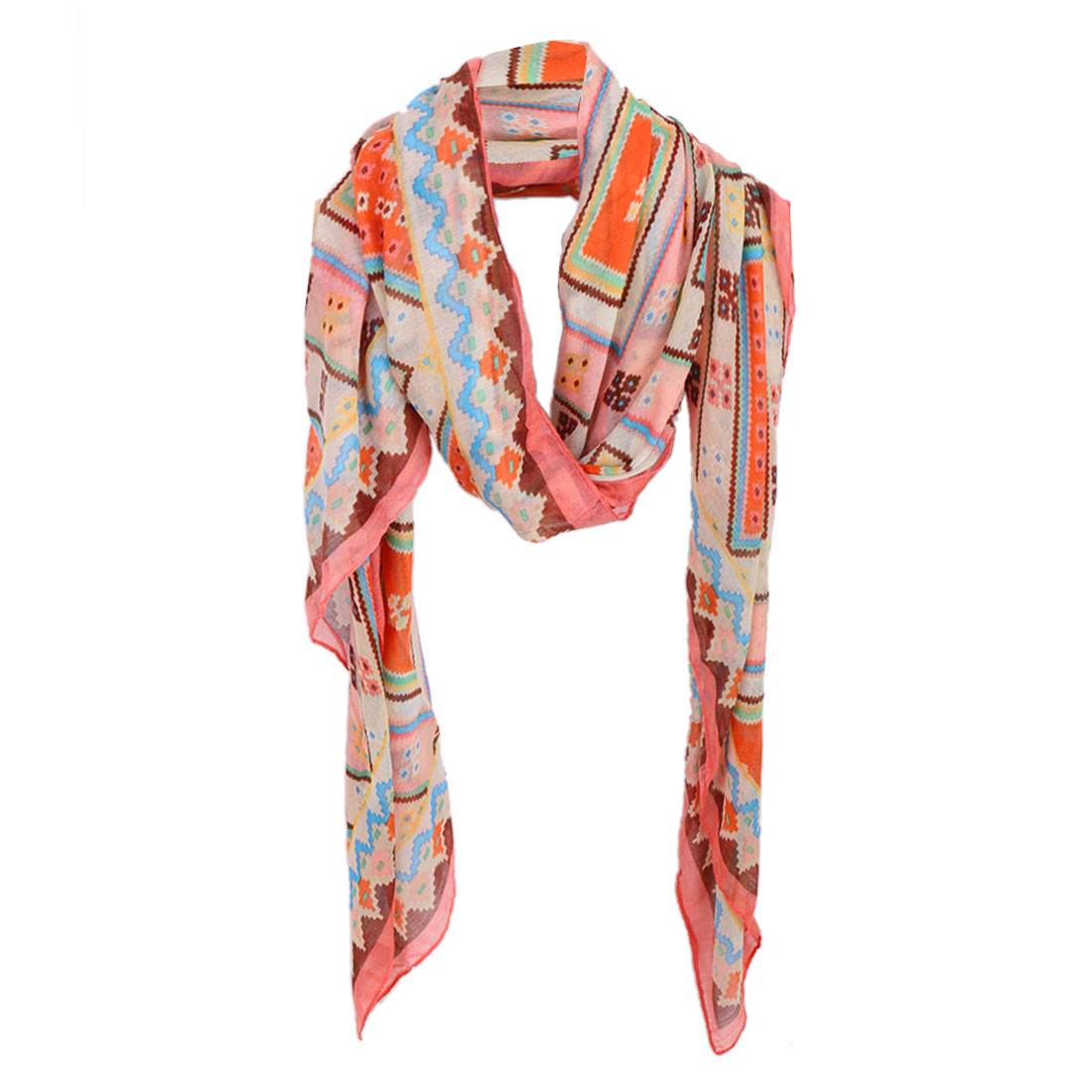 Women Geometric Prints Semi Sheer Stylish Scarf Multicolor