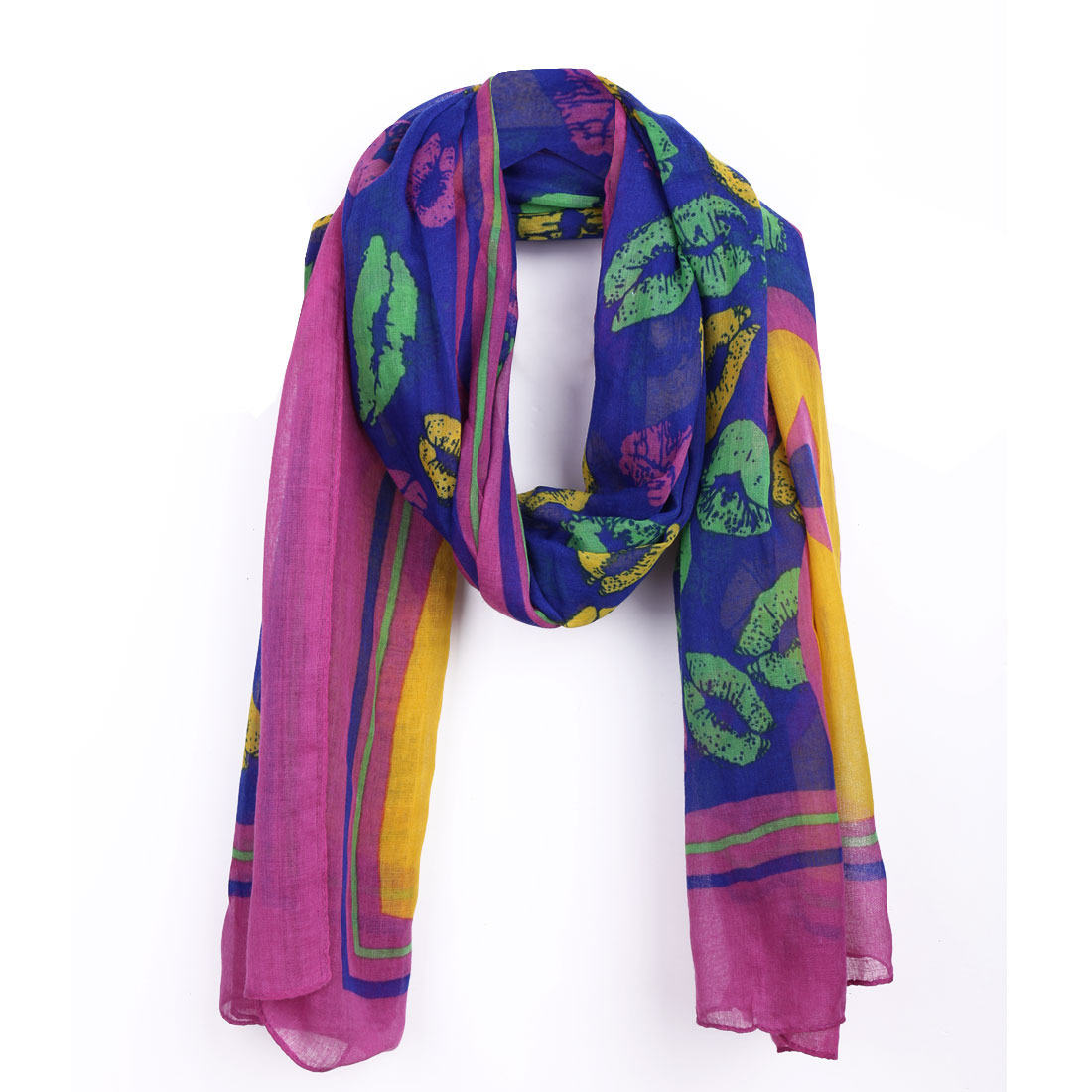 Blue Purple Lips Print Multicolor Super Soft Women Scarf