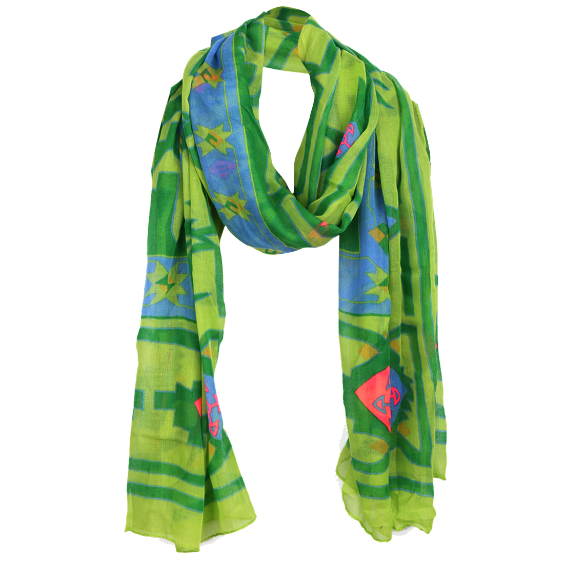 Women Green Novelty Pattern Color Block Casual Scarf