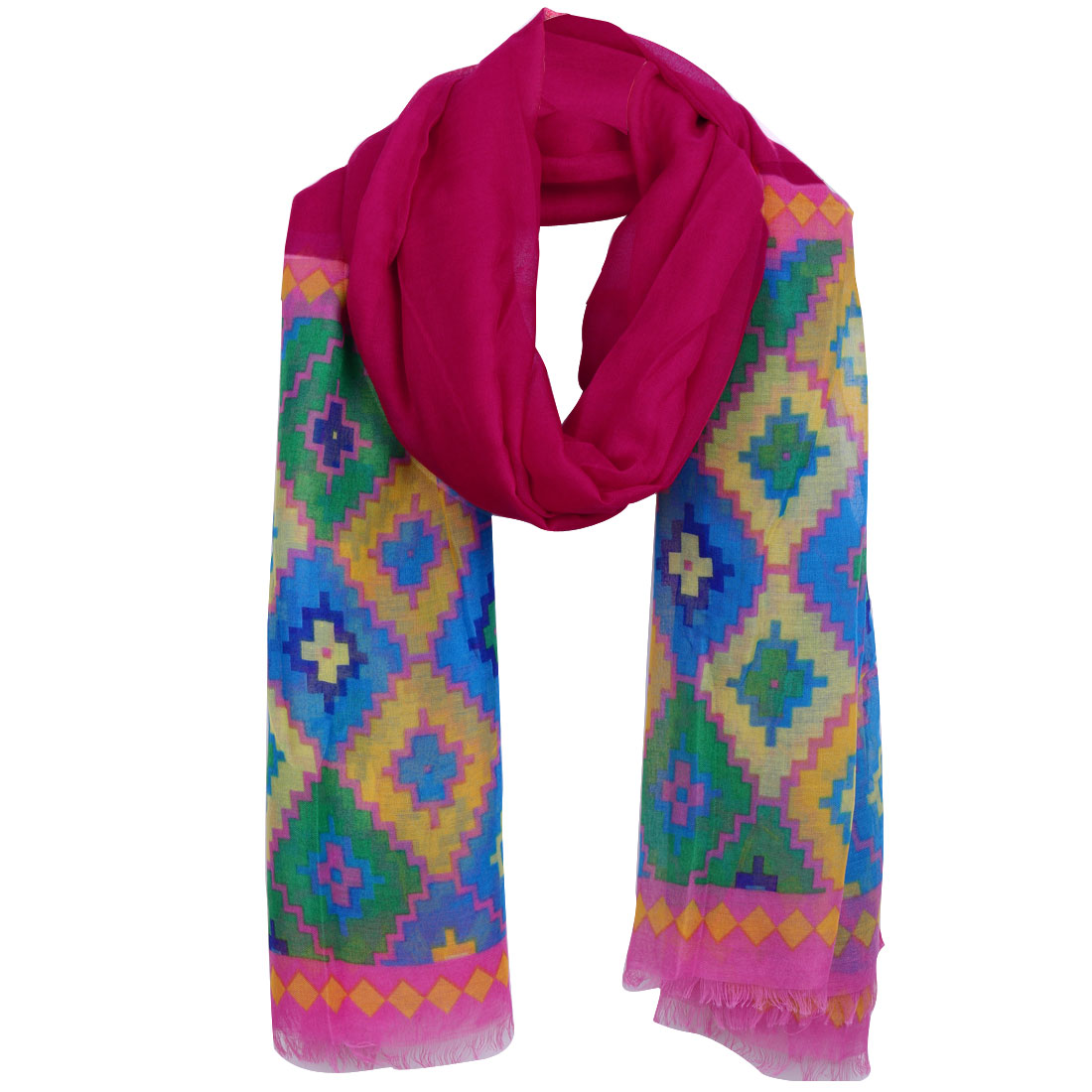Women Geometric Pattern Patchwork Tassels Hem Scarf Multicolor
