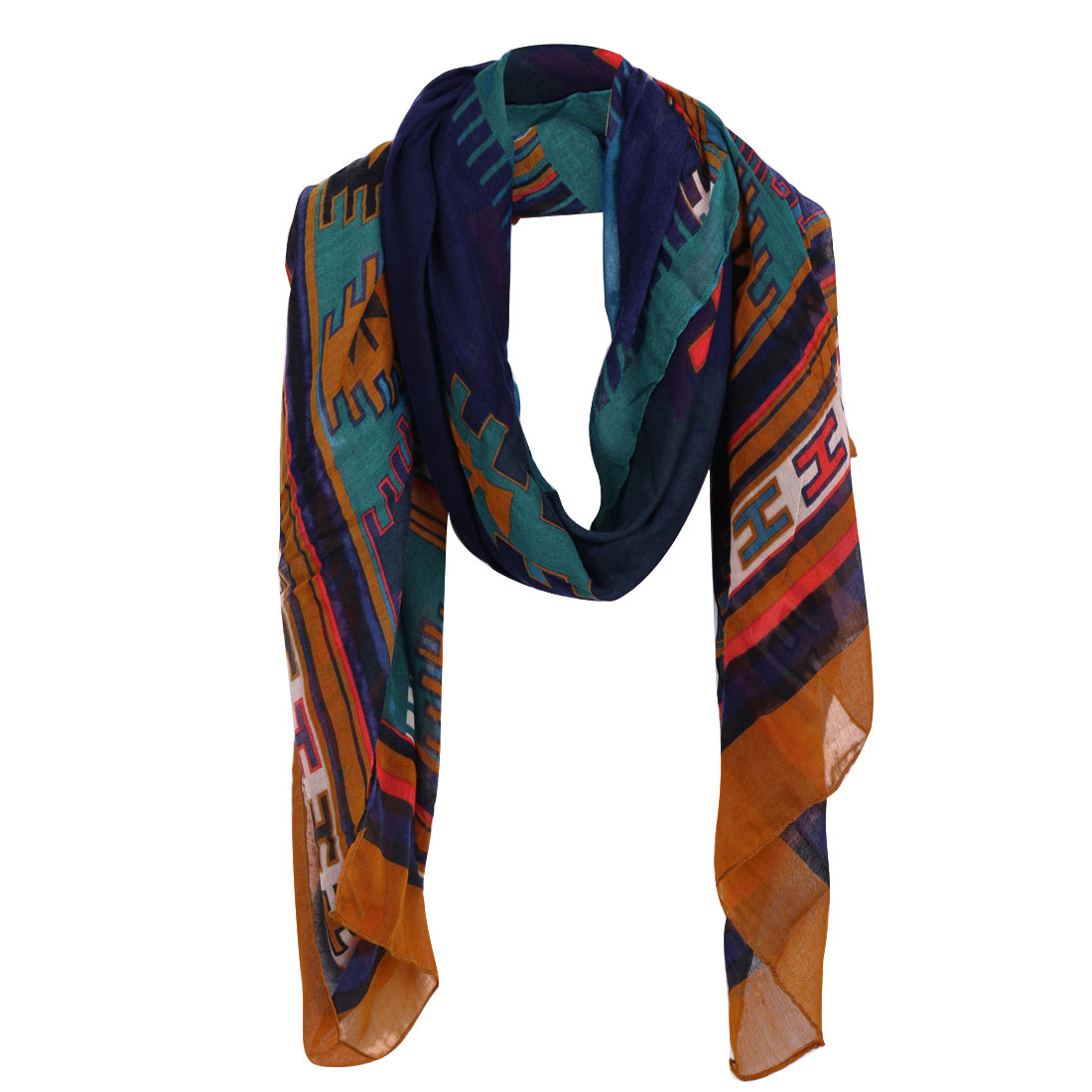 Women Geometric Prints Stripes Warm Scarf Multicolor