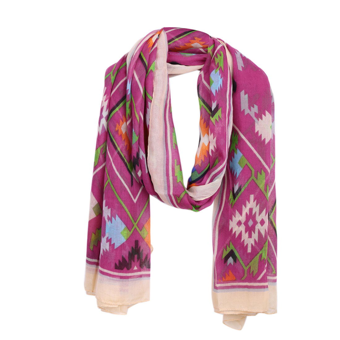 Women Fuchsia Novelty Pattern Design Super Soft Scarf