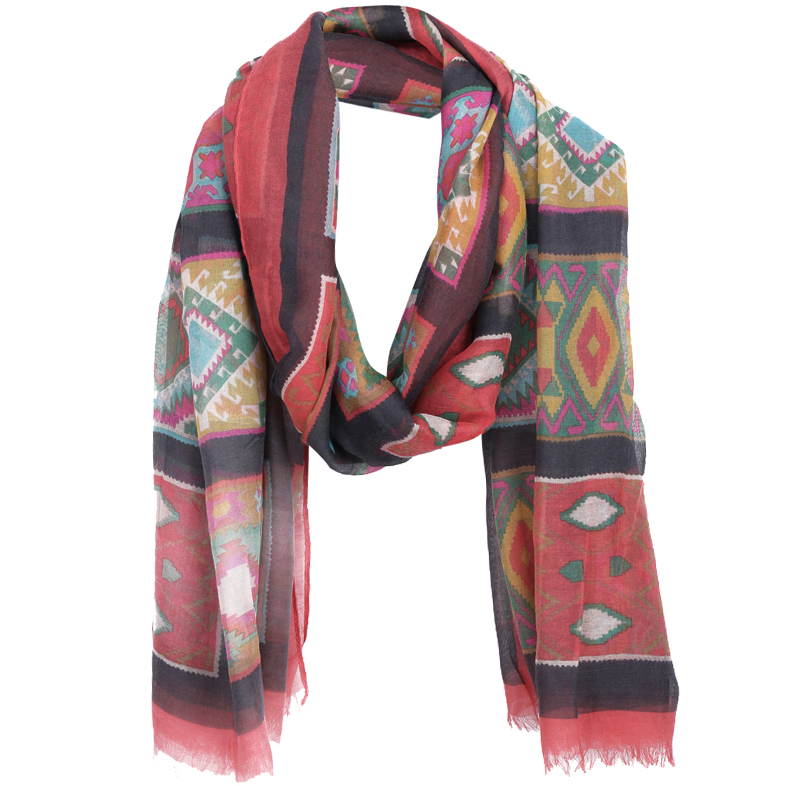 Geometric Print Multicolor Color Block Super Soft Women Scarf Grey