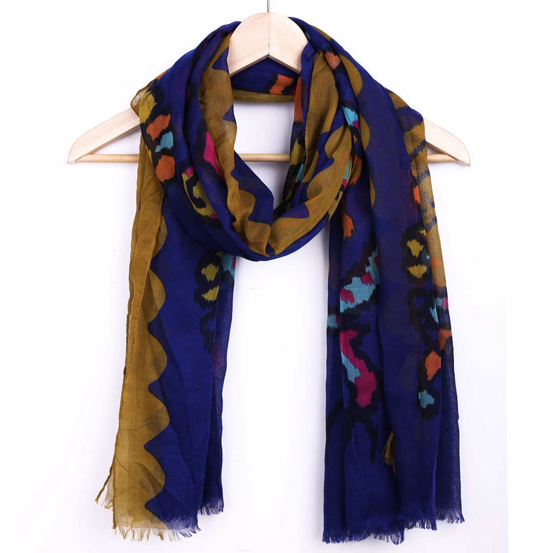 Women Navy Blue Novelty Pattern Design Casual Fashion Scarf