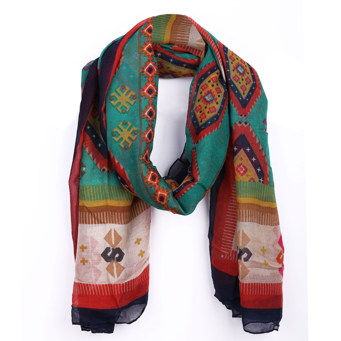Women Multicolor Novelty Pattern Color Block Super Soft Casual Scarf
