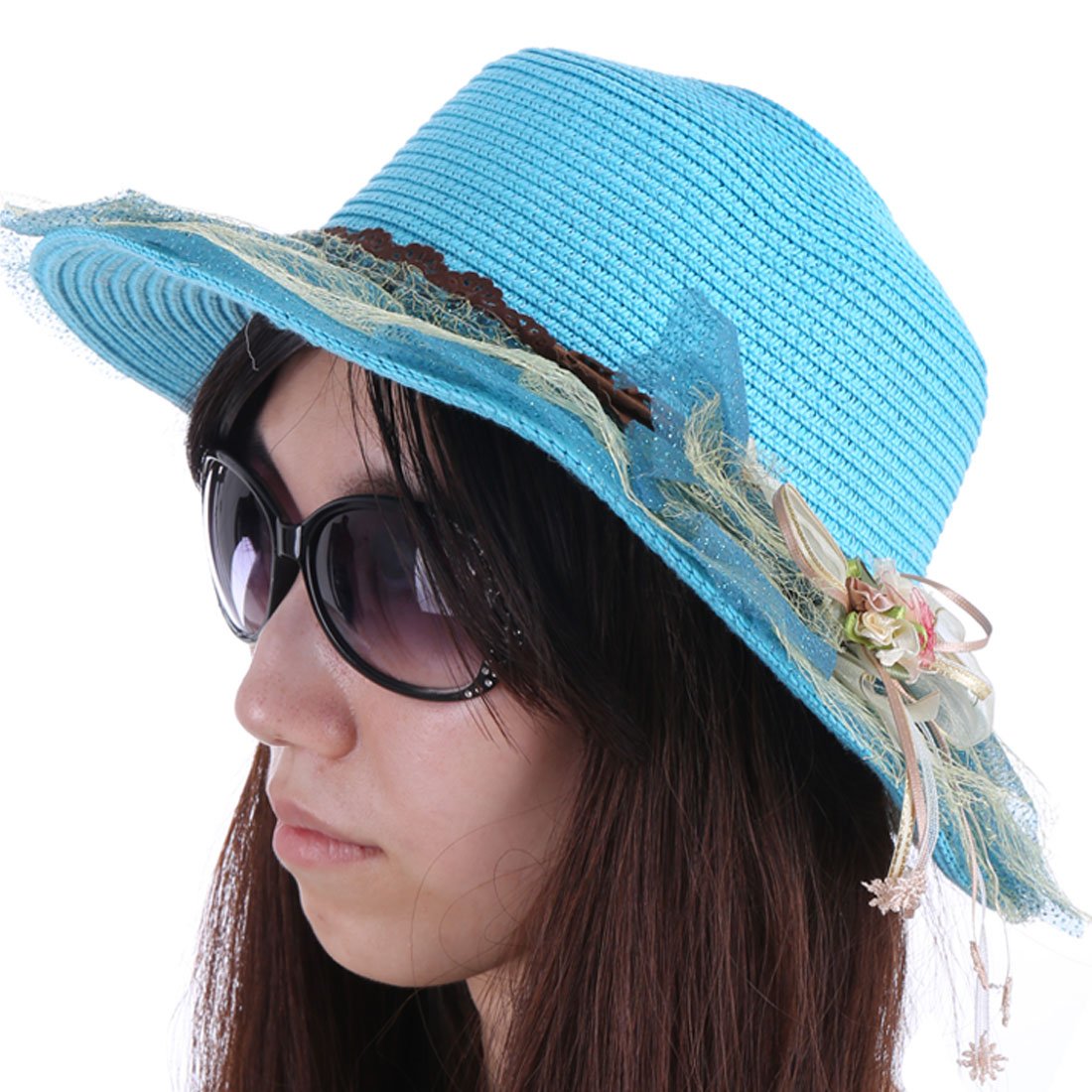 Ladies Tiered Mesh Covered Bowtie Flower Decor Sky Blue Dark Blue Straw Hat