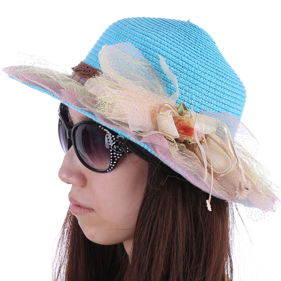 Woman Chic Pink Mesh Covered Sky Blue Straw Braided Sun Hat