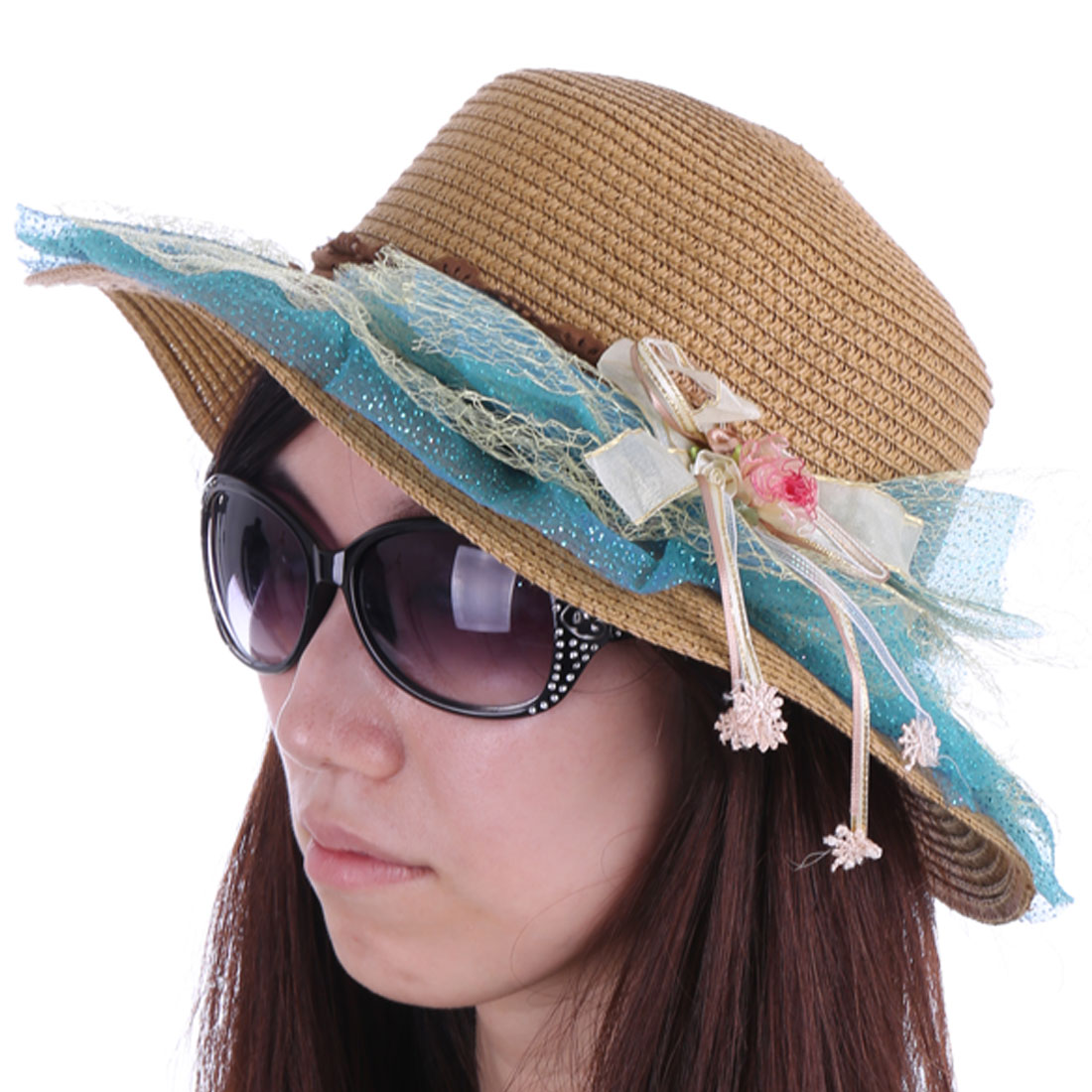 Stylish Light Brown Blue Wide Brim Flower Decor Sun Hat for Lady