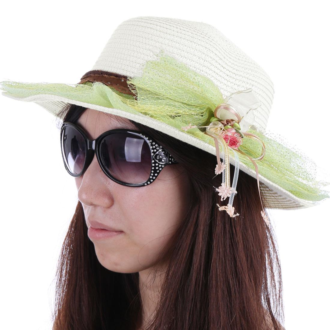 Women Chic Wide Brim Light Green Mesh Covered White Sun Straw Hat