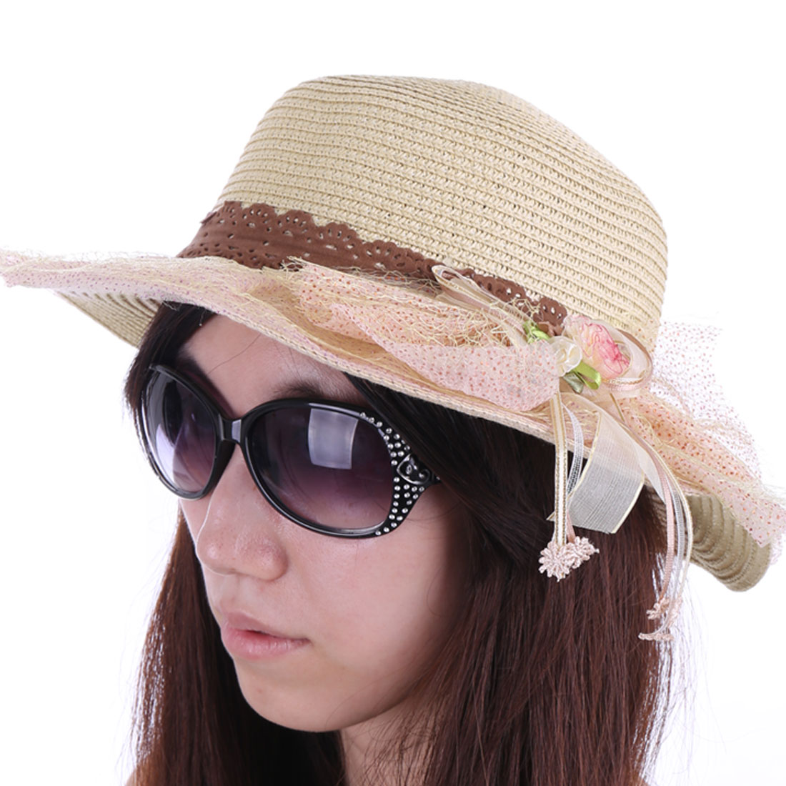 NEW Fashion Pink Mesh Covered Beige Straw Braided Sun Hat for Lady