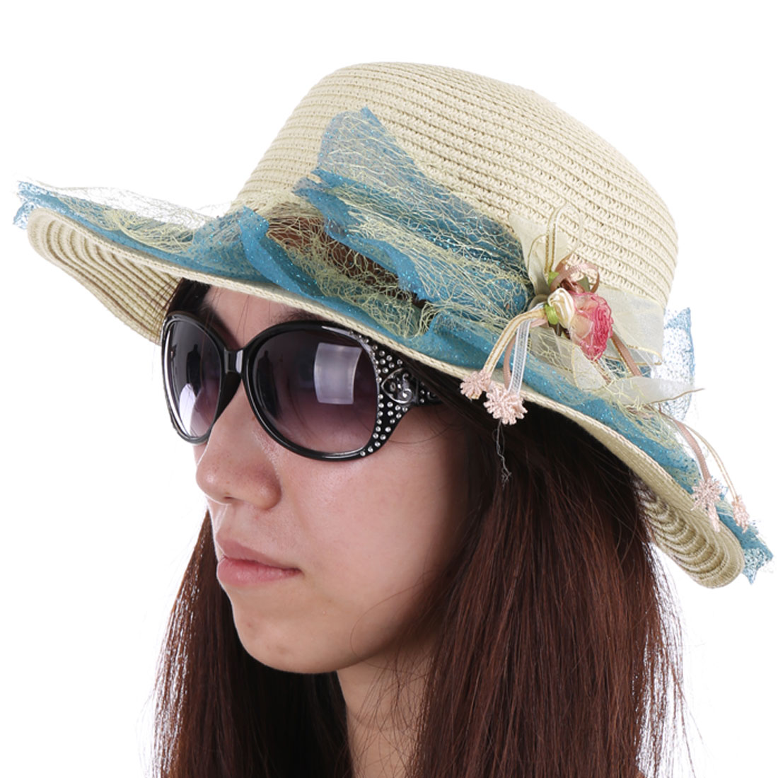 Blue Mesh Covered Flower Decor Beige Sun Straw Hat for Woman