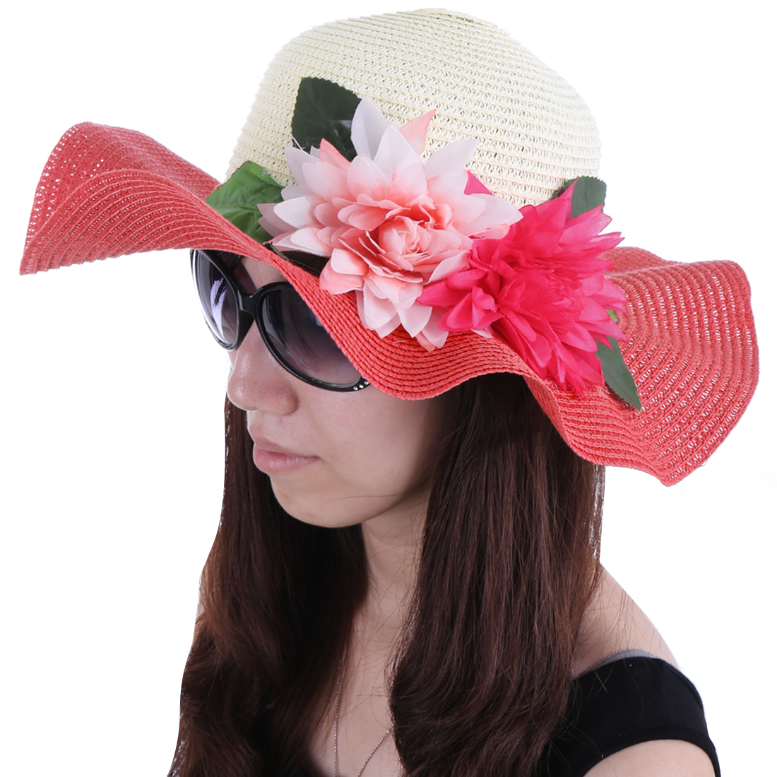 Women Wide Brim Flower Decor Sun Hat Brick Red White