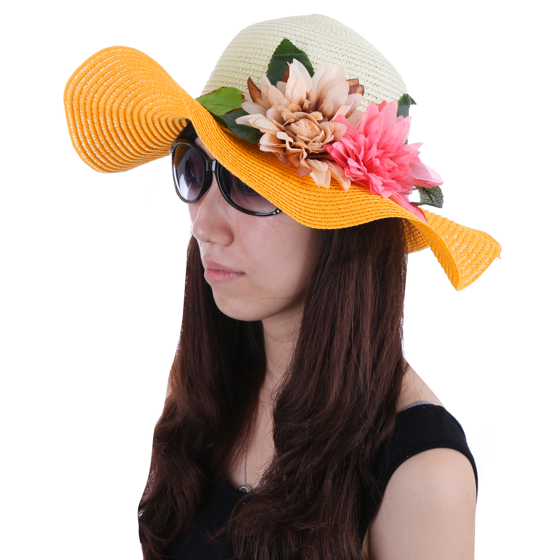 Women Braided Strap Detail Panel Hat Yellow White