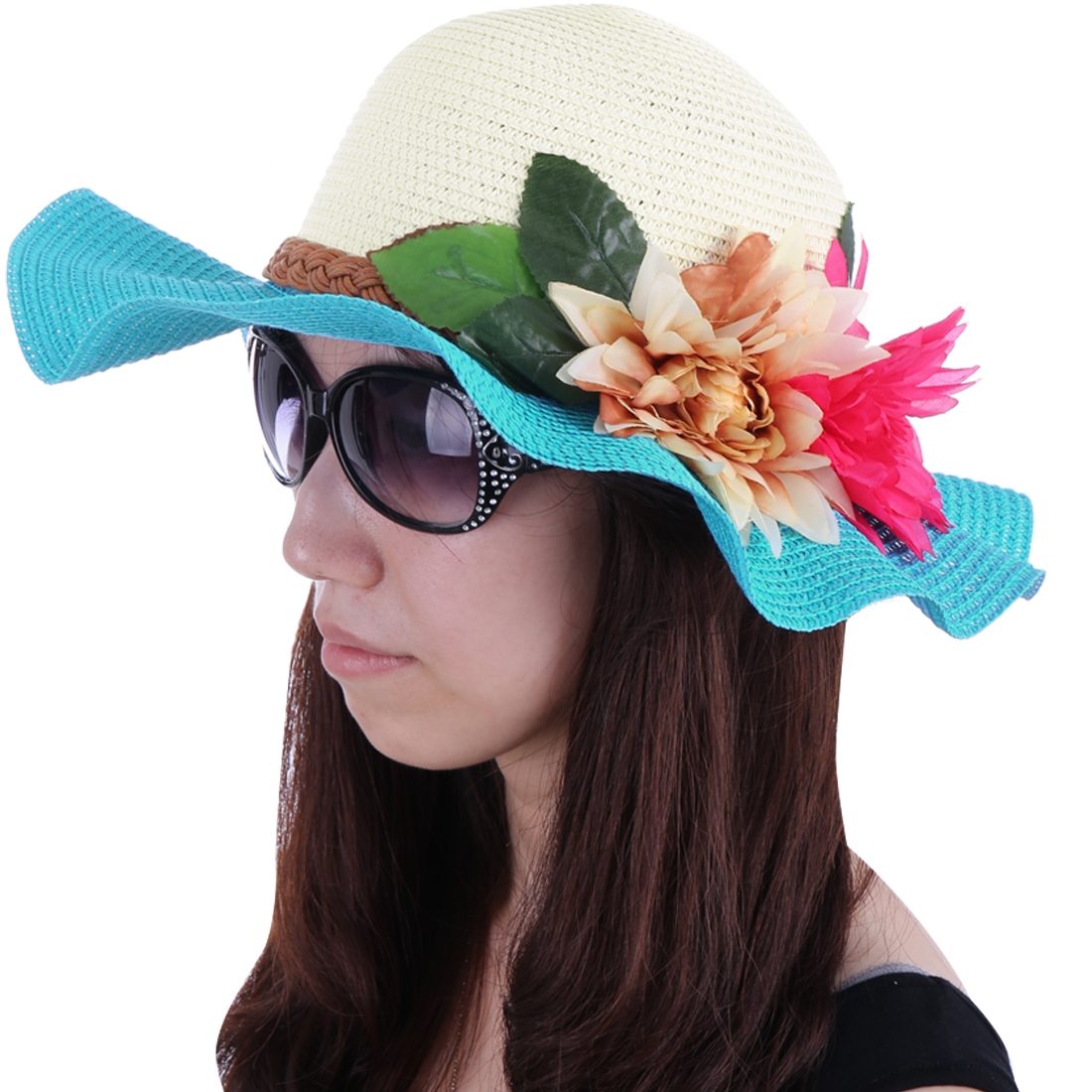 Women Round Brim Contrast Color Sun Hat Aqua White