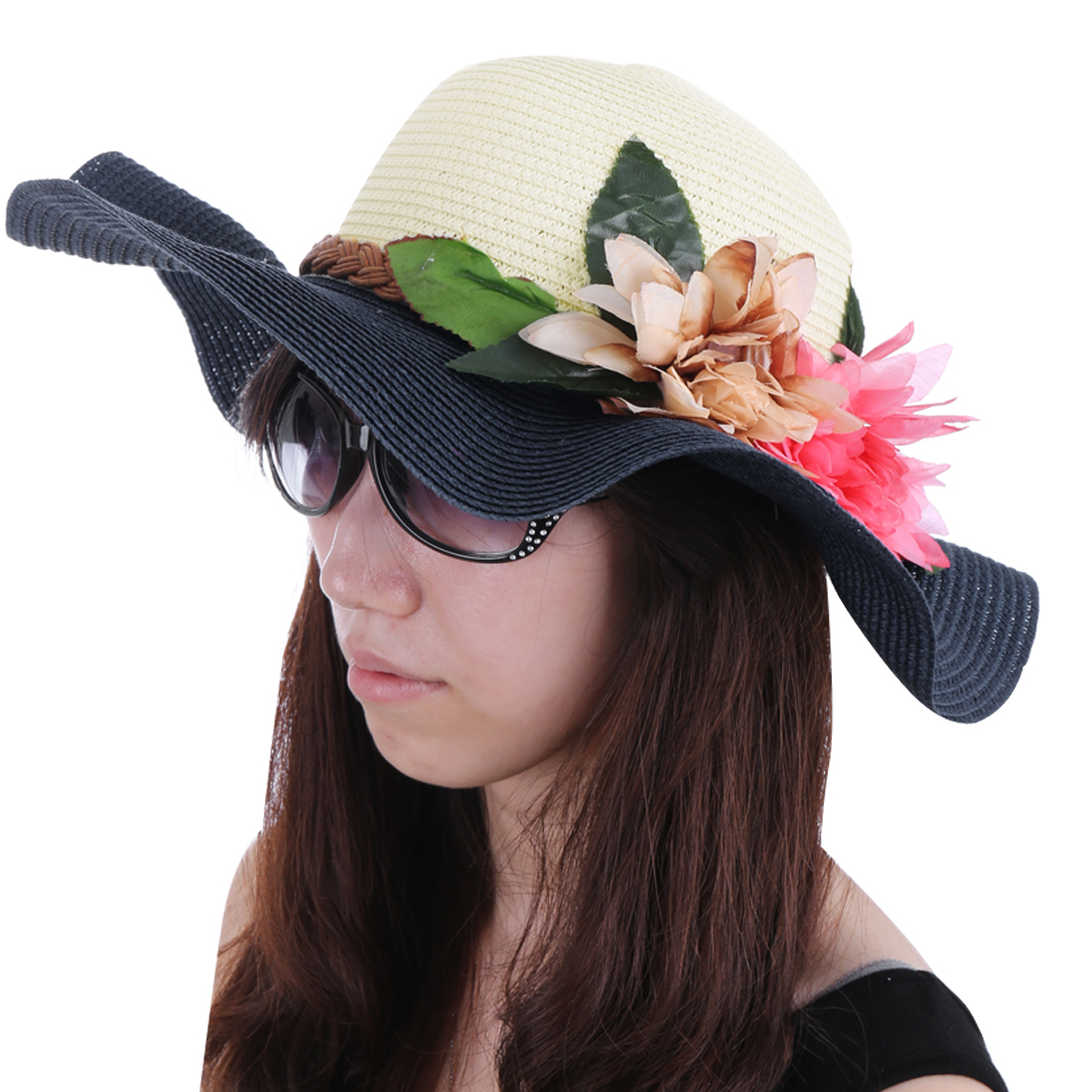 Women Color Blocking Braided Strap Hat Dark Blue White