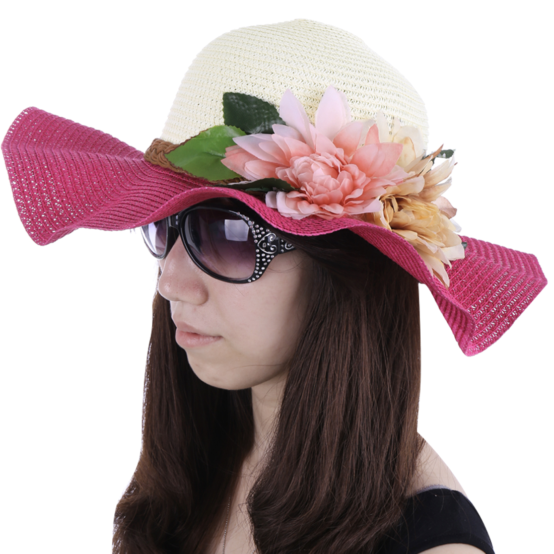 Women Wavy Brim Flower Embellished Sun Hat Fuchsia White