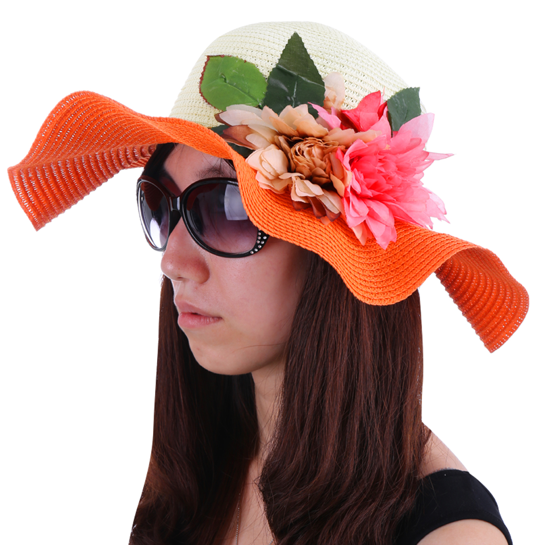 Women Round Brim Flower Decor Beach Sun Hat Orange White