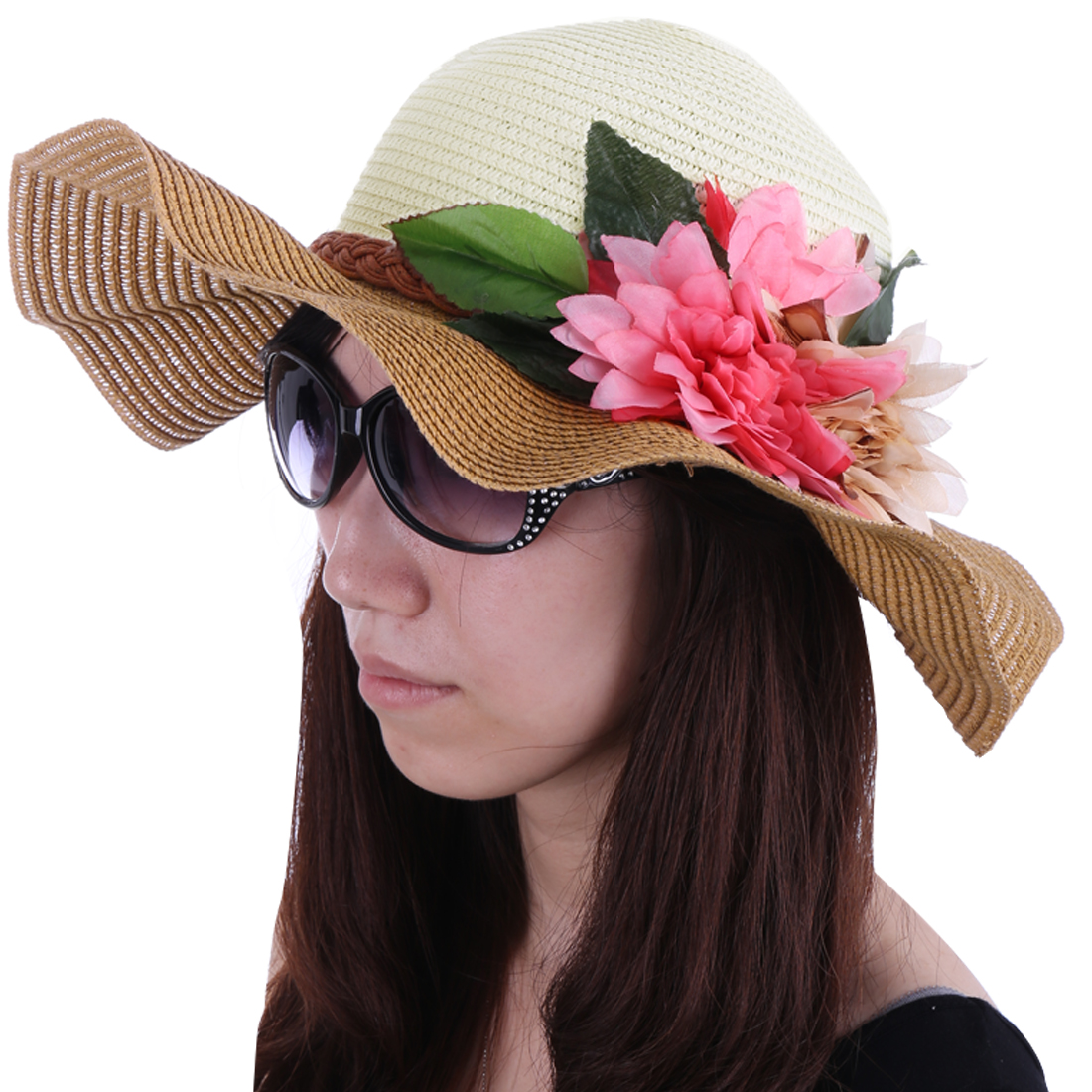 Women Wavy Brim Color Block Sun Hat Light Brown White