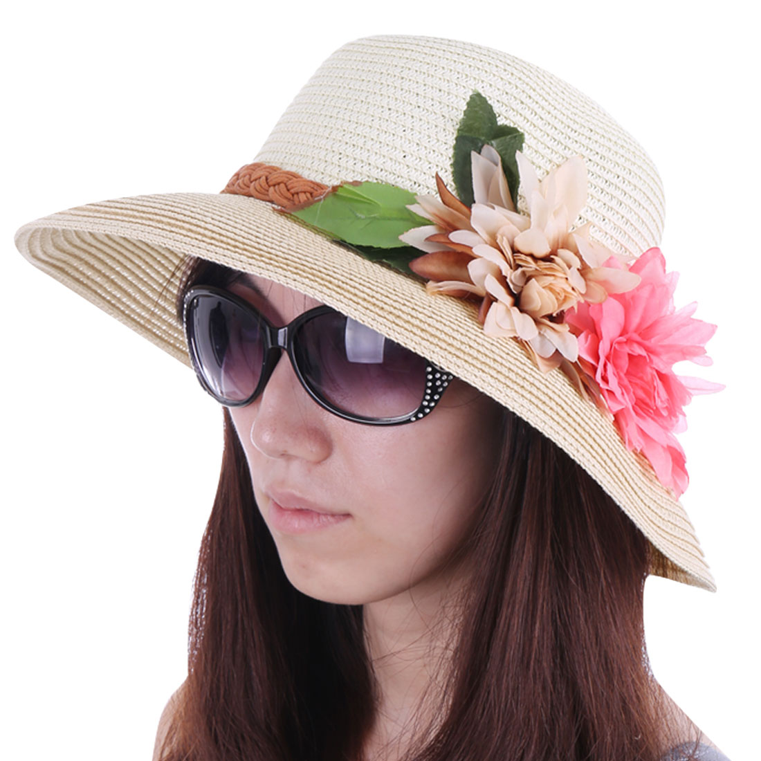 Women Rolled Up Brim Flower Decor Sun Hat Beige White