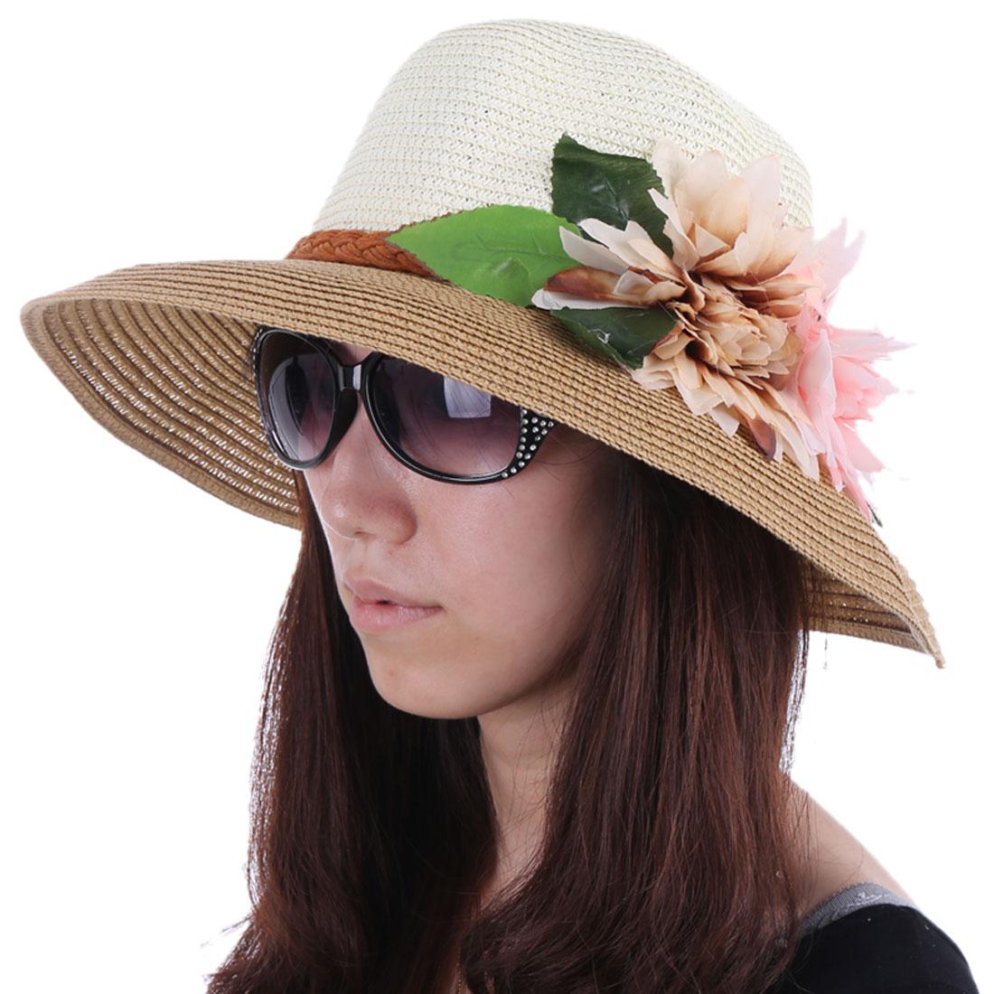 Women Color Blocking Braided Sun Hat Light Brown White