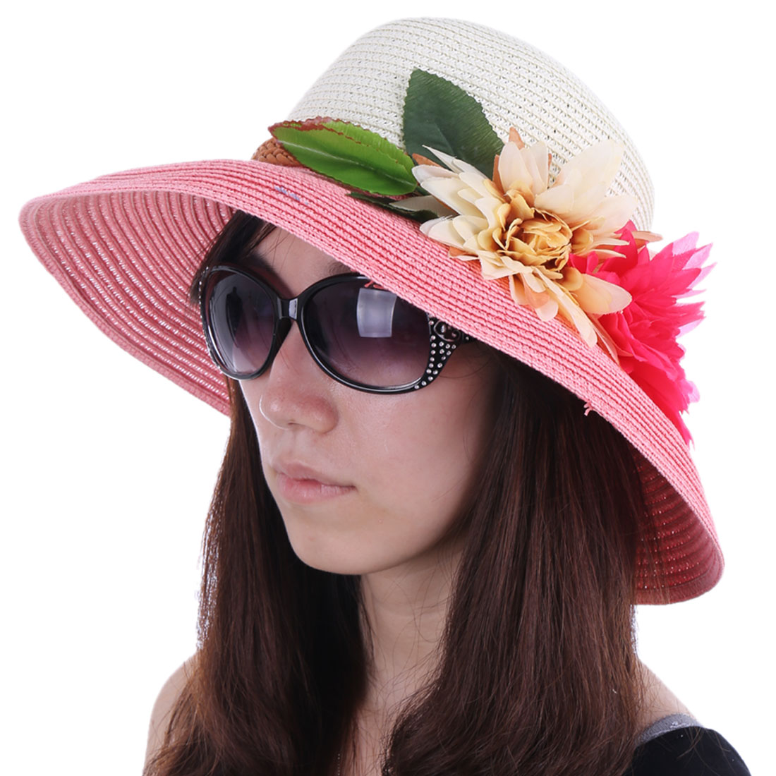 Women Round Brim Splice Beach Sun Hat Pink White