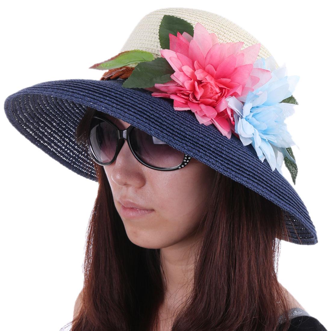 Women Woven Straw Flower Decor Hat Dark Blue White