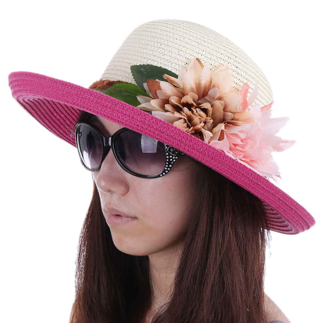 Women Wide Brim Splice Braided Hat Fuchsia White